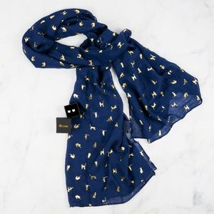 Cat Lady Box Navy Sheer scarf with silver cats NWO